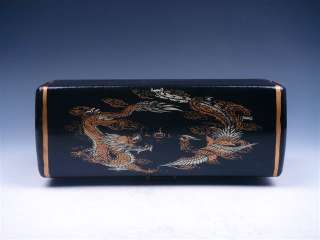 Black Leather Finish Dragon Phoenix Painted Large Jewelry Box