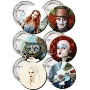 Set of 6 Tim Burton   Alice in Wonderland 2010   Buttons Pins Badge 1