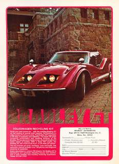 Bradley GT   VW red Kit Car   Classic Vintage Advertisement Ad A63 B