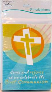 First Communion Invitations Come and Rejoice 8ct Party Supplies