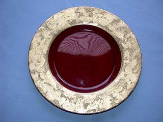 Vintage Ruby Red Glass Platter w/Gold on Gold Overlay