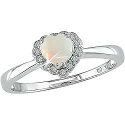 10k Gold Opal and Diamond Heart shaped Ring