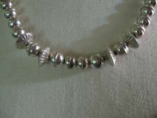 Sterling Silver Graduated Pearl Concho Handmade Bench Bead Necklace