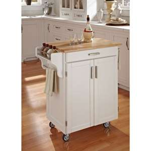 Home Styles Cuisine Kitchen Cart, White with Wood Top Furniture