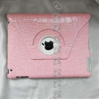 iPad 2 Crocodile PU Leather Case Smart Cover Rotating Stand Choose