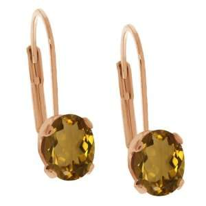 1.40 Ct Oval Shape Whiskey Quartz Rose Gold Plated Brass