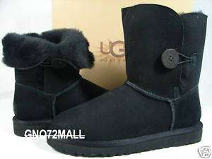 NIB UGG BAILEY BUTTON BLACK WOMENS BOOTS UK 5 USA 7