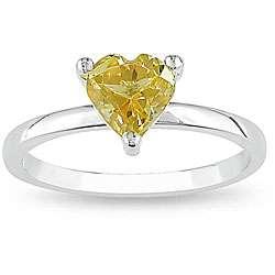 Sterling Silver Citrine Heart Ring