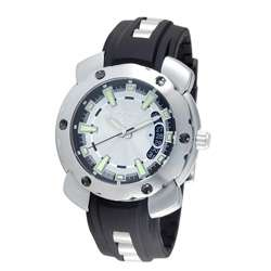 Police Mens Silver Citation X Rubber Strap Watch