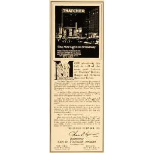 1915 Ad Thatcher Furnaces Boilers Ranges Broadway Sign Home Appliance