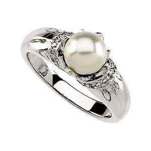 07.00 Mm/.07 CT TW 14K White Gold Cultured Pearl & Diamond