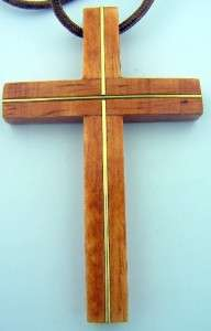 Wooden Wood Pectoral Brown Cross With 30 Rope Cord Necklace 3 1/4