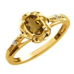 0.57 Ct Oval Whiskey Quartz Sapphire Gold Plated Sterling