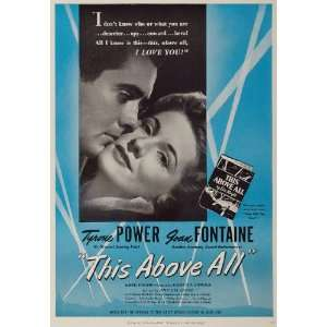 1942 Movie Ad This Above All Tyrone Power Joan Fontaine   Original