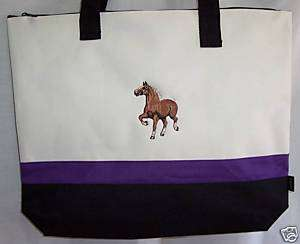 Belgian Draft Horse Purple Tote Bag equestrian harness