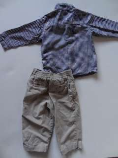 Boys Gap Blue & White Shirt & Beige Pants Size 18 to 24 Months