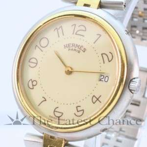 Mens Hermes 18K Gold Plated and Stainless Steel Wristwatch Good