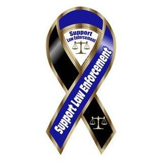 Support Law Enforcement Blue / Black Ribbon Magnet