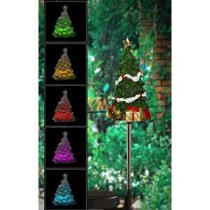 Solar Powered Color Changing Christmas Tree Garden Stake, Multi Color