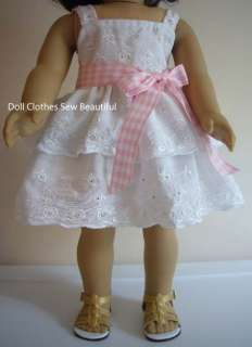 Doll Clothes fits American Girl Eyelet Lace Sun Dress W/ Tiers EASTER