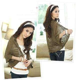 Korean Fashion Women Hollow Crochet Lace Shawl Cardigan Bat Jacket