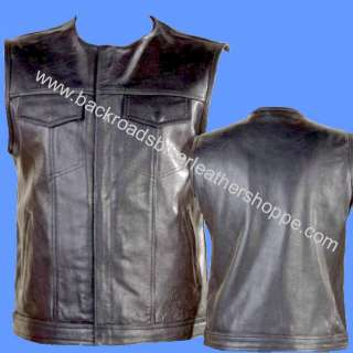 LEATHER MOTORCYCLE BIKER VEST OUTLAW CLUB STYLE GUN PKT NO COLLAR 1