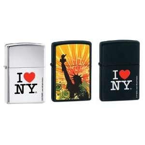 com Zippo Lighter Set   I Love NY High Polish Chrome, I Love NY Black