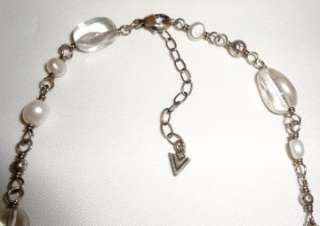 Silpada Sterling Silver Pearl Crystal Necklace N1602 Retired Boxed