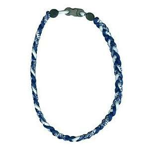 Titanium Ionic Braided Necklace   Navy Blue/White Sports