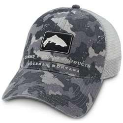 Simms Fly Fishing Mesh Trucker Cap Hat Simms Camo Grey