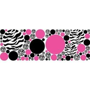 Zebra Print, Black and Hot Pink Dot Wall Stickers