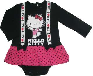 NEW Hello Kitty Baby Long Sleeve Skirted Romper Black Size 0M 1Yr (cut