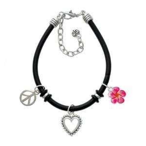 Hot Pink and Orange Flower Black Peace Love Charm Bracelet