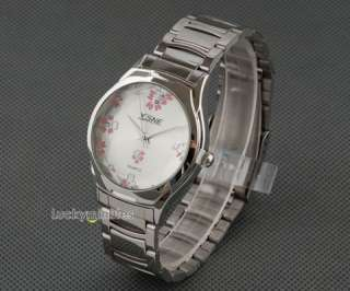 W295 Lady Elegant White Face Flowers Quartz Wrist Watch