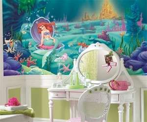 DISNEY LITTLE MERMAID WALLPAPER MURAL Girls Green Wall Decor Bedroom