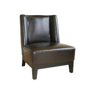 Modern Furniture  Low Slung Dark Brown Bycast Leather