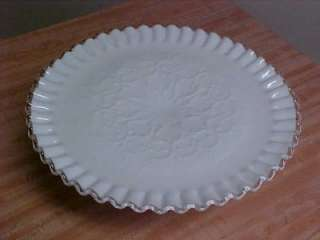 VTG FENTON SPANISH LACE MILK GLASS SPANISH LACE PEDESTAL CAKE PLATE