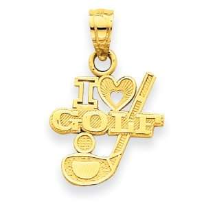 14k I (Heart) Golf, Club with Ball Pendant Jewelry