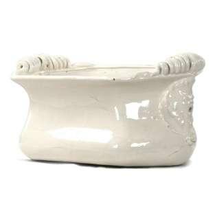 Tuscan White Ceramic Large Decorative Bowl