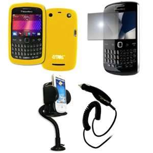 EMPIRE Yellow Silicone Skin Case Cover + 360 Degree Rotatable Car