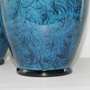 PAIR Petite Blue Italian Pottery Ceramic Lamps VTG Mid Century Modern
