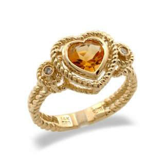 14K Yellow Gold Heart Shaped Citrine and Diamond Ring Size 7