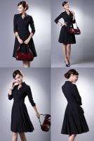 J161 WOMEN V NECK FORMAL LONG SLEEVES DRESS BLACK PLUS SIZE BIG EXTRA