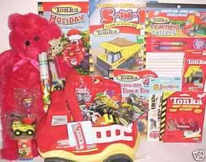 NEW TONKA TOY EASTER GIFT BASKET FIRE TRUCK TOYS PLUSH SET
