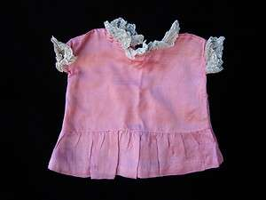 ANTIQUE GERMAN BISQUE DOLL OLD PINK LACE DRESS