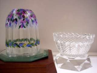 Fenton FAIRY LIGHT LAMP French Opalscnt Ribbed Optic DANGLING WYSTERIA