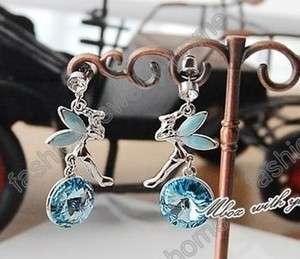 Hot Silver Plated Sky Blue Amethyst Angel Earrings