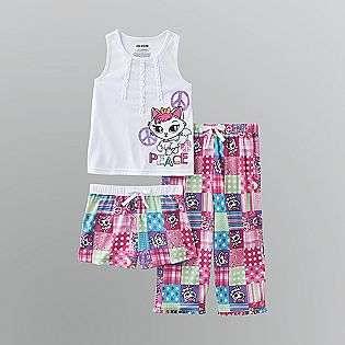 Girls Cat Graphic Tank Three Piece Pajama Set  Joe Boxer Clothing