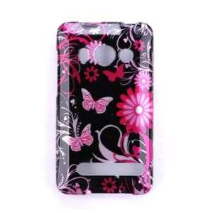 HTC Sprint Evo 4G Pink Butterfly Hard Case Phone Cover
