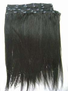 Human Hair Yaki Straight Remy Clip in Hair Extension
